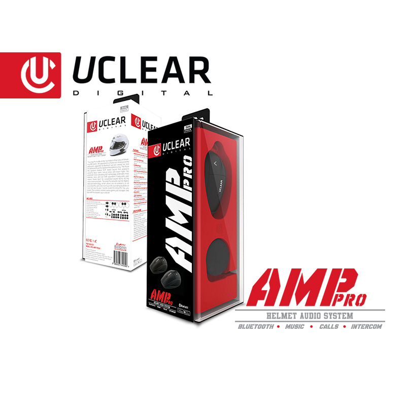 AMP Pro Bluetooth Helmet Audio System - Single Kit - UCLEAR
